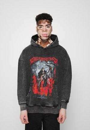 OVERSIZED DARK ACID WASH REAPER HOOD - Sweater - grey