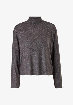 MELIERTES MIT STEHKRAGEN - Long sleeved top - black melange