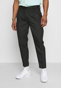 Topman - SMART CHECK TAPER - Cargo trousers - black - 0