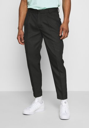 SMART CHECK TAPER - Cargo trousers - black