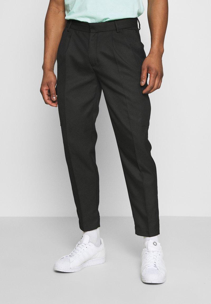 Topman - SMART CHECK TAPER - Cargo trousers - black