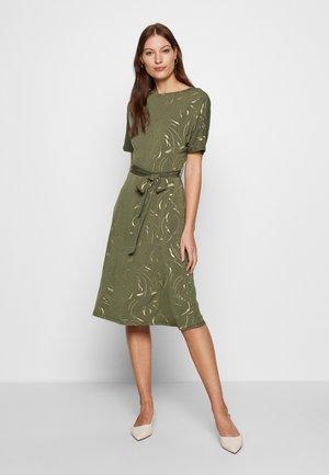 FOIL BATWING MIDI DRESS - Jersey dress - khaki