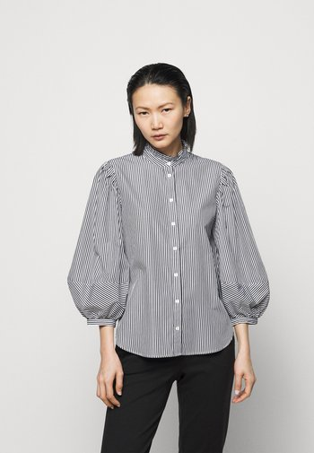 70S NON STRETCH - Button-down blouse - black/white