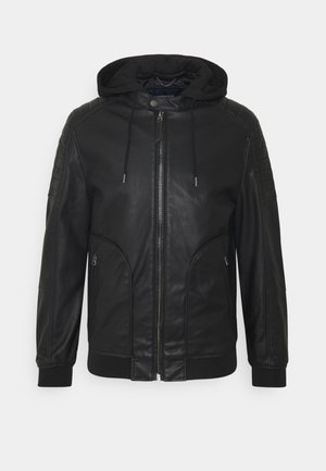 BIKER CAPUCHA - Faux leather jacket - black