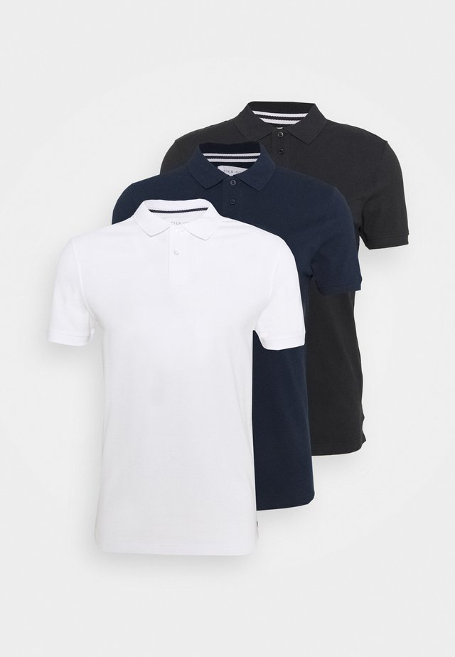 3 PACK - Koszulka polo - black/dark blue/white
