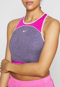 Nike Performance - DRY TANK CROP SPACE DYE - Tekninen urheilupaita - cerulean/fire pink/white - 5