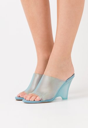 Heeled mules - light blue