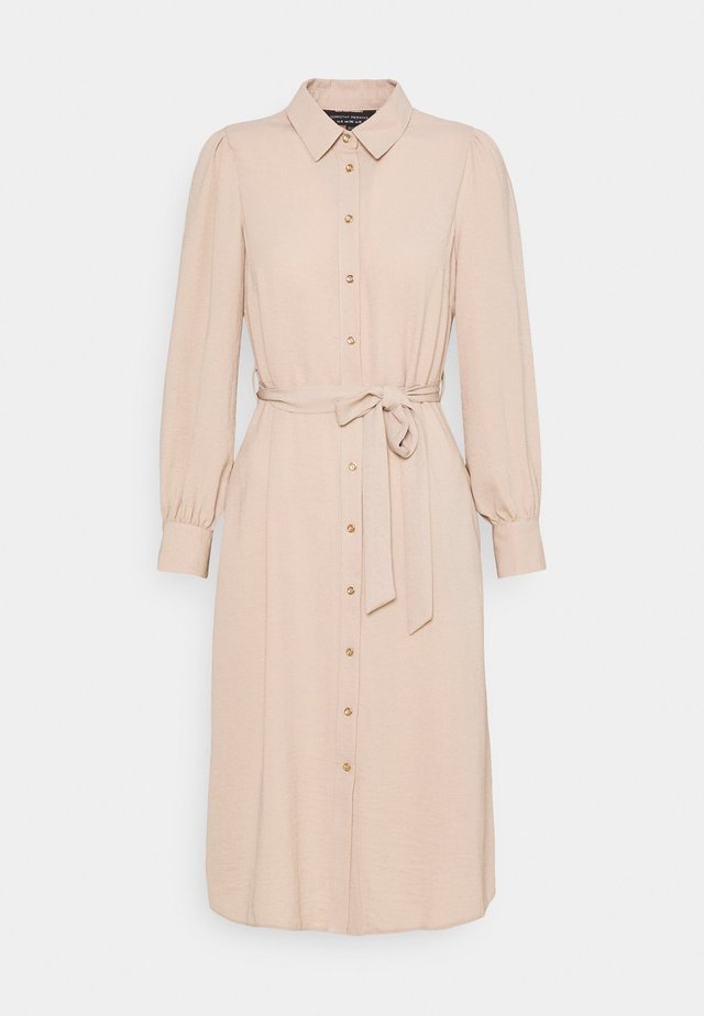 WOVEN MIDI DRESS PLAIN - Skjortklänning - tan