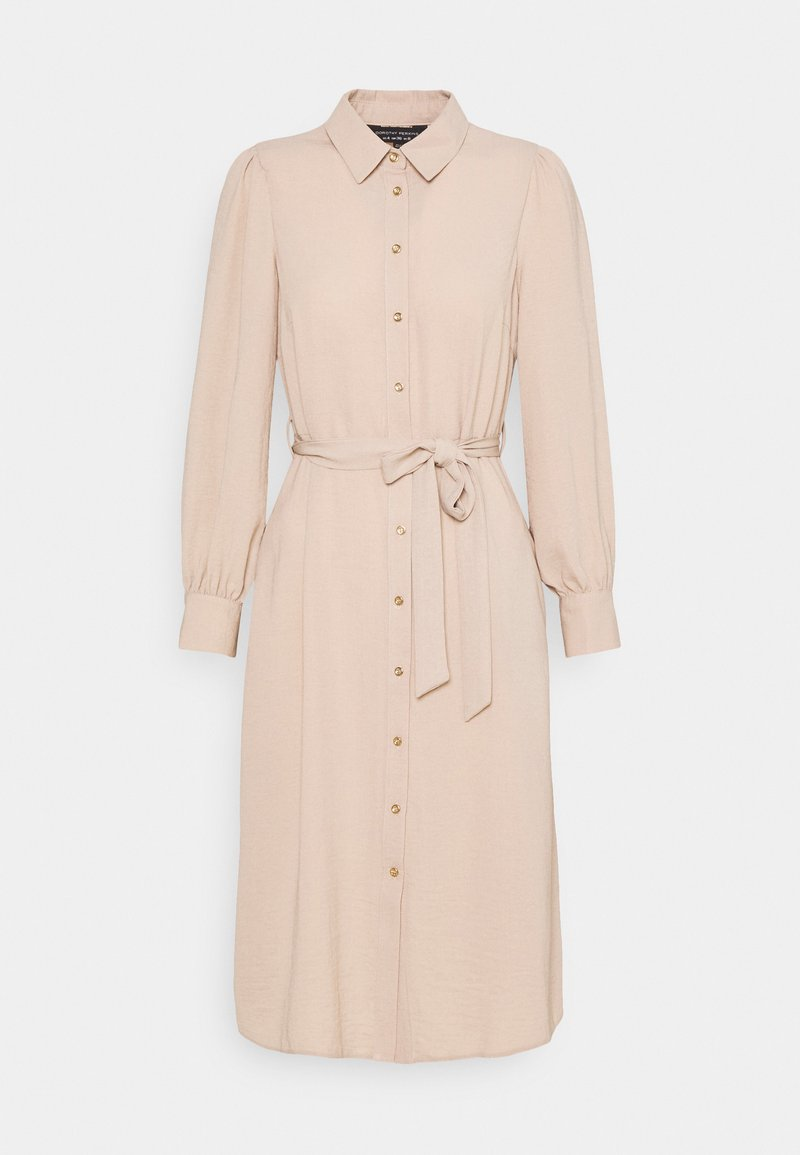 Dorothy Perkins - WOVEN MIDI DRESS PLAIN - Shirt dress - tan