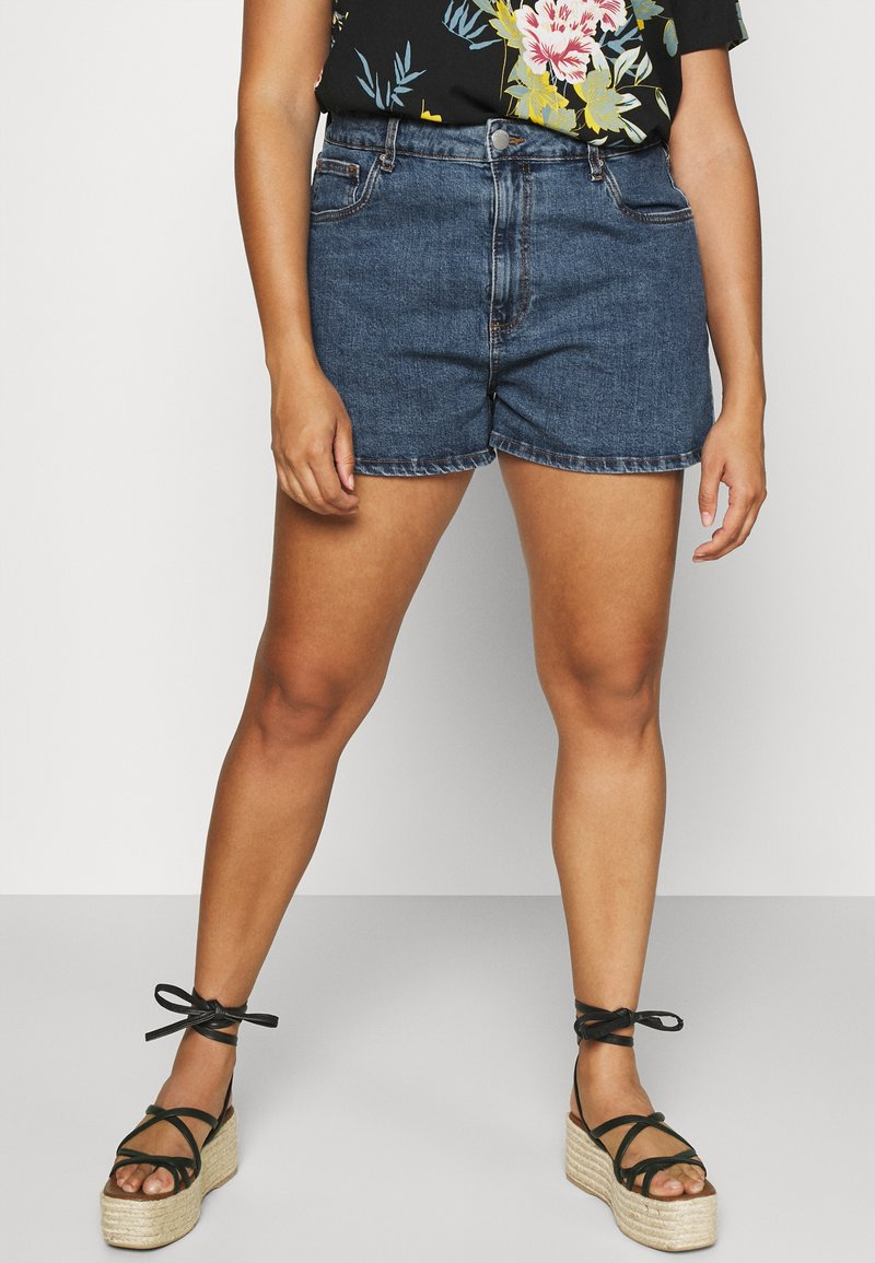 Cotton On Curve - HIGH WAISTED - Denim shorts - coogee blue