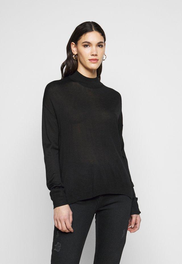 TALL HIGH NECK JUMPER - Jersey de punto - black