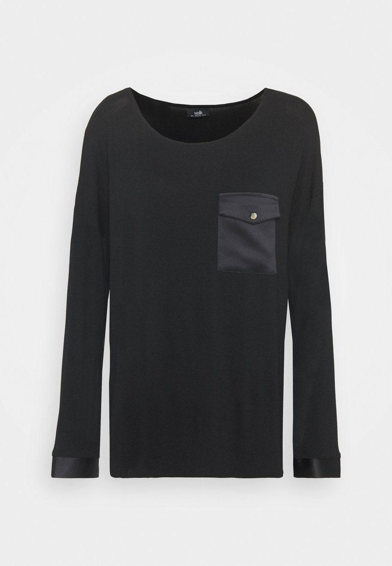 Wallis - POCKET LONG SLEEVE TEE - Long sleeved top - black