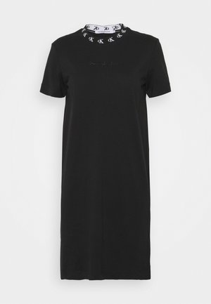 LOGO TRIM DRESS - Sukienka z dżerseju - black