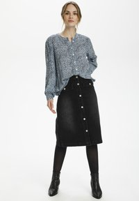 Kaffe - Button-down blouse - chambray blue, black dot - 1