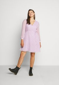 Glamorous Curve - SHEER LONGSLEEVE DRESS - Korte jurk - lilac lavender - 1