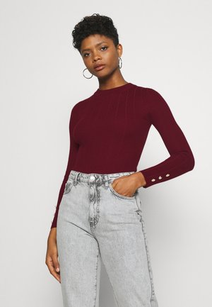 BUTTON CUFF CREW NECK - Trui - burgundy