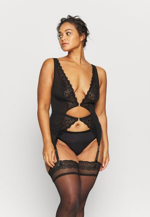 SOFT PLUNGE BASQUE WITH CUT OUTS - Corset - black