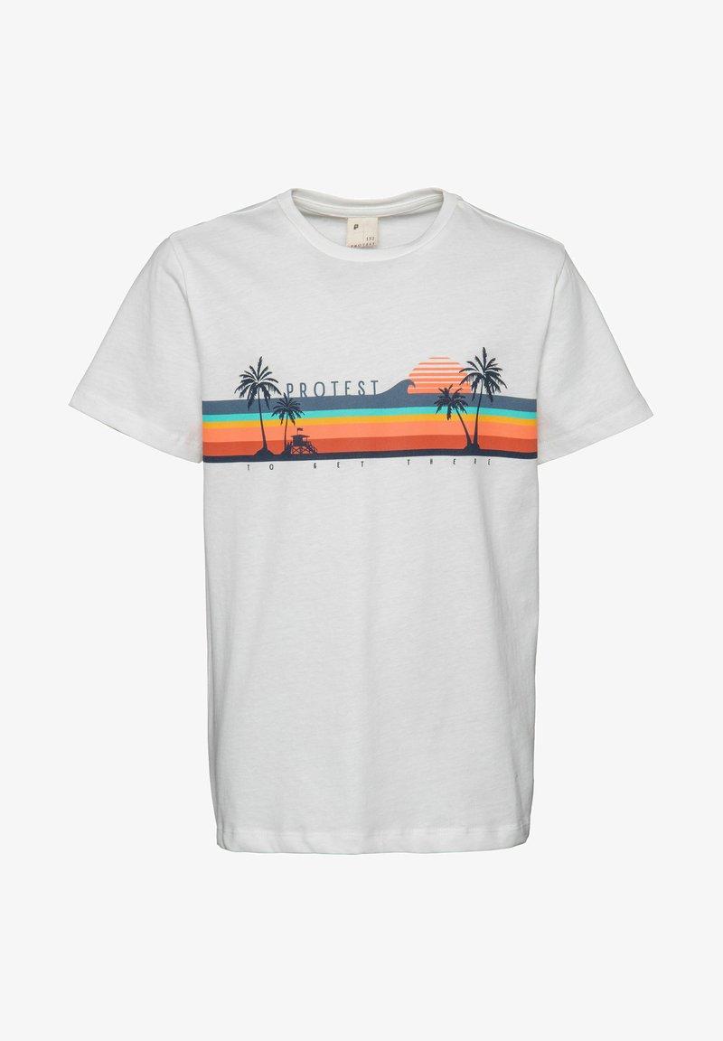 Protest - MATHIAS JR - T-shirt print - off-white/orange/blue