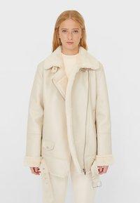 Stradivarius - DOUBLEFACE - Faux leather jacket - white - 0
