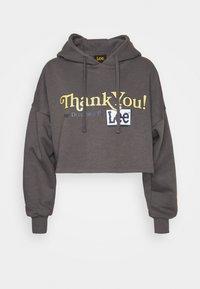 CROPPED LOOSE HOODY - Sweatshirt - grey mele