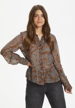 ESMAPW  - Button-down blouse - zig zag print, hazel brown