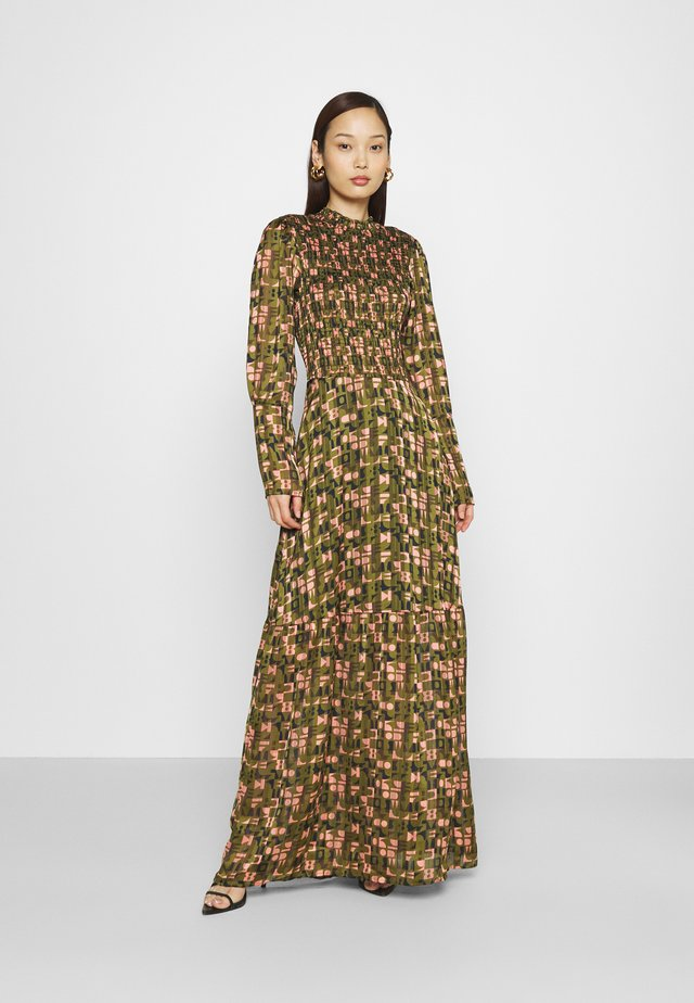 SHEER MAXI DRESS WITH ALL OVER PRINT - Maxiklänning - green