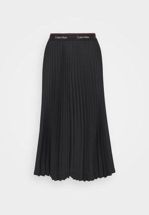 LOGO WAISTBAND PLEAT SKIRT - Pleated skirt - black