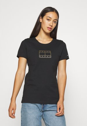 OUTLINE FLAG TEE - T-shirt z nadrukiem - black