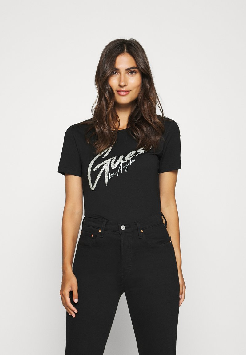 Guess - GENNY TEE - T-shirts med print - jet black