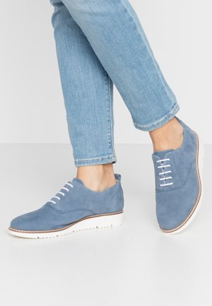 LEATHER LACE-UPS - Lace-ups - blue