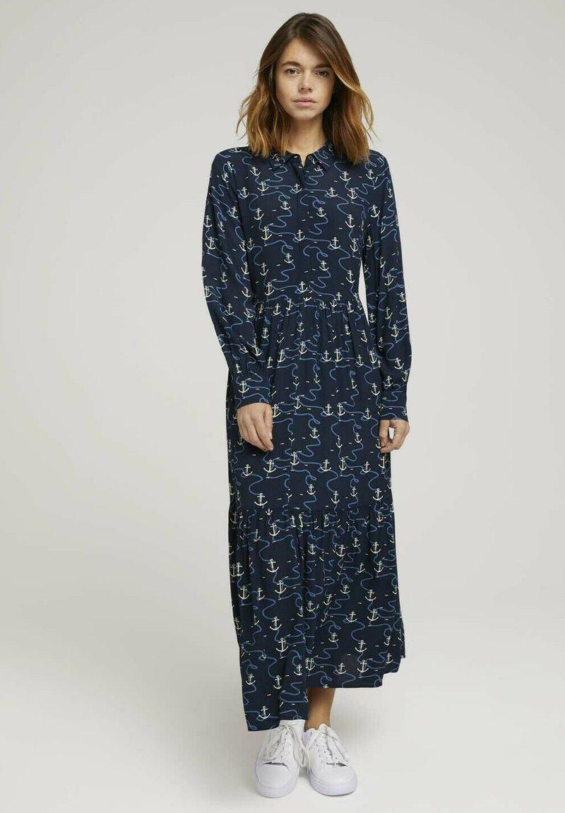 TOM TAILOR DENIM - Maxi dress - navy anchor print
