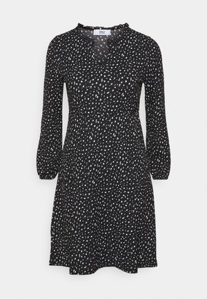 ONLZILLE V FRILLNECK DRESS - Day dress - black/white