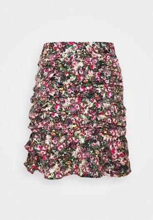 VMJULIANNA SHORT SKIRT  - A-line skirt - black/yellow anneline