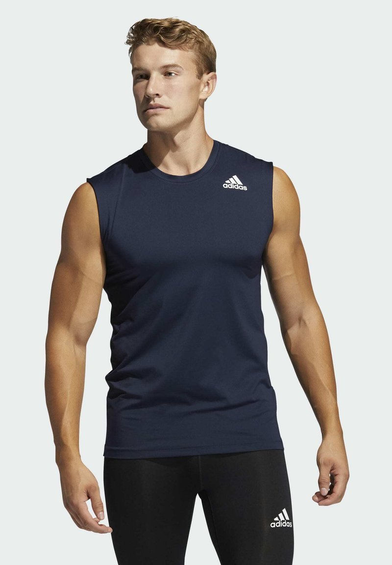 adidas Performance - TECHFIT SLEEVELESS FITTED TANK TOP - Top - blue
