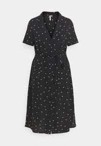 ONLY Carmakoma - CARLUXMILA CALF SHIRT DRESS  - Day dress - black/white - 3
