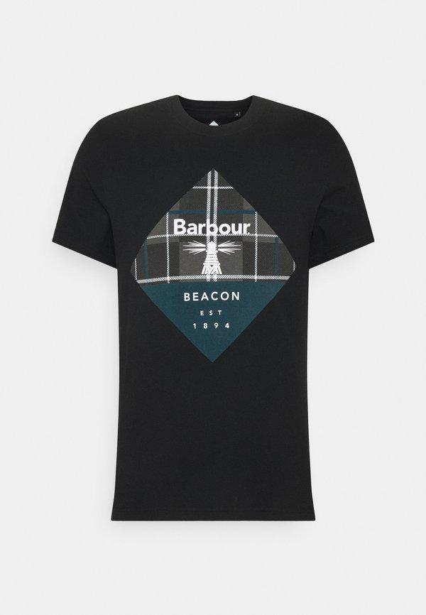 Barbour Beacon BECKER TEE - T-shirt z nadrukiem - black/czarny Odzież Męska OWSN