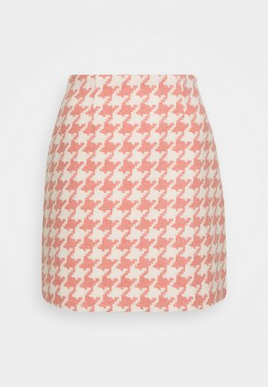 JOSIE SKIRT HOUNDSTOOTH - Mini skirt - rose/offwhite