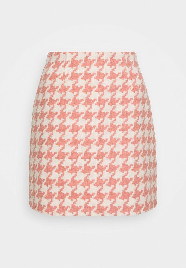 JOSIE SKIRT HOUNDSTOOTH - Mini skirt - rose/offwhite