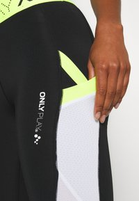 ONLY Play - ONPALIX 7/8 TRAINING - Leggings - black/white/safety yellow - 5