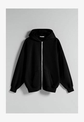 OVERSIZE - Felpa con zip - black