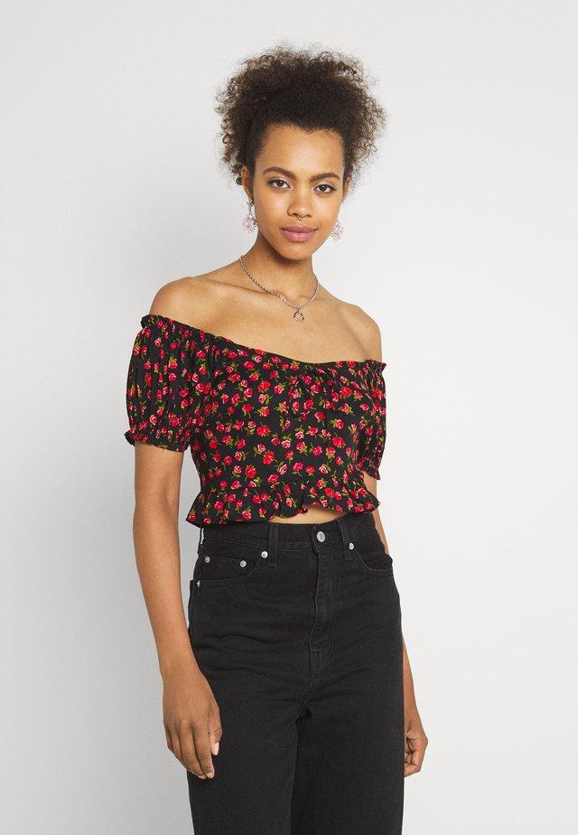 ROSE TIE BACK CROP - Bluse - black