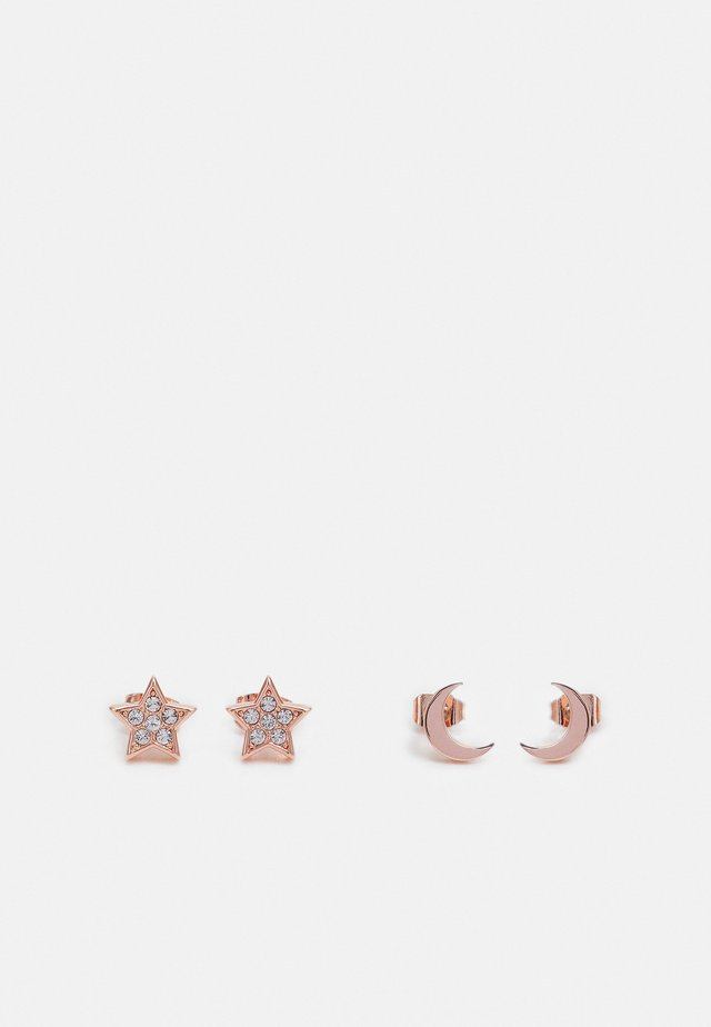MOANNY PAVE STAR CRESCENT MOON EARRING GIFT SET - Korvakorut - rose gold-coloured