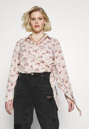 FLORAL WRAP TIE - Blouse - pink