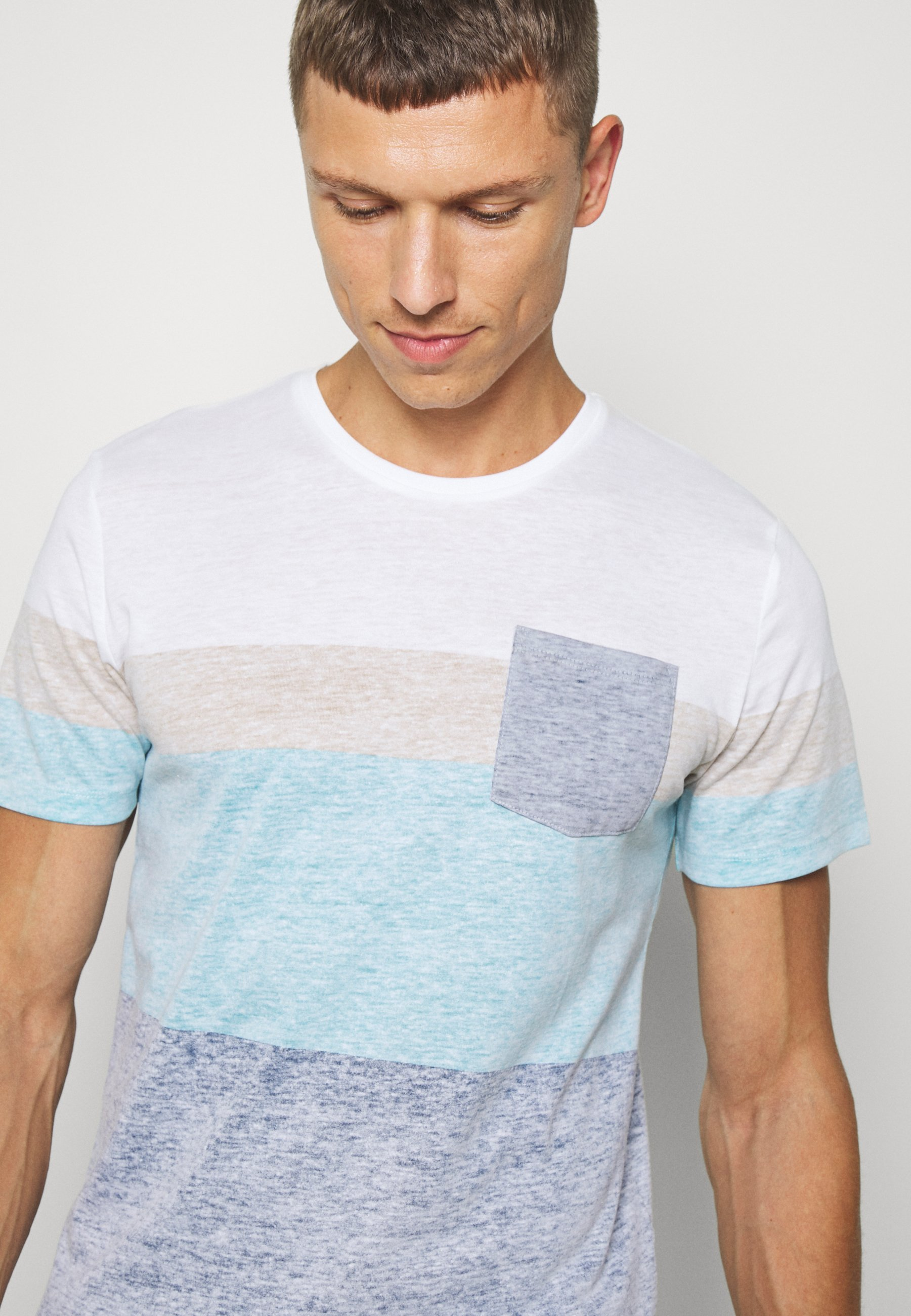 TOM TAILOR WITH INSIDE PRINT - Print T-shirt - after dark blue Fi8ht