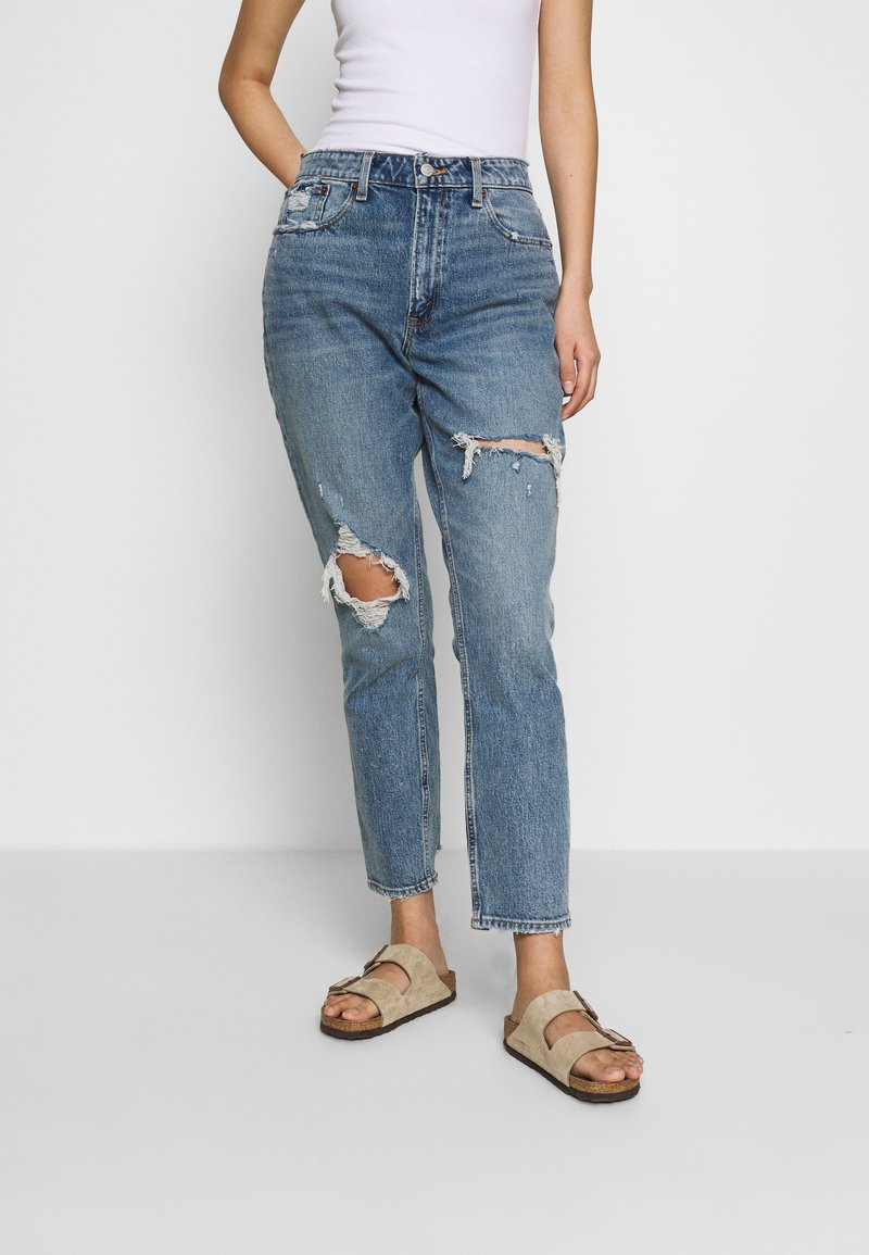 Abercrombie & Fitch - MED KNEE BLOWOUT CURVE - Slim fit jeans - med knee blowout