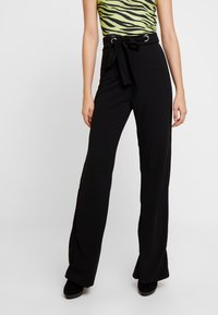 Missguided - STRETCH EYELET WIDE LEG TROUSER - Trousers - black - 0