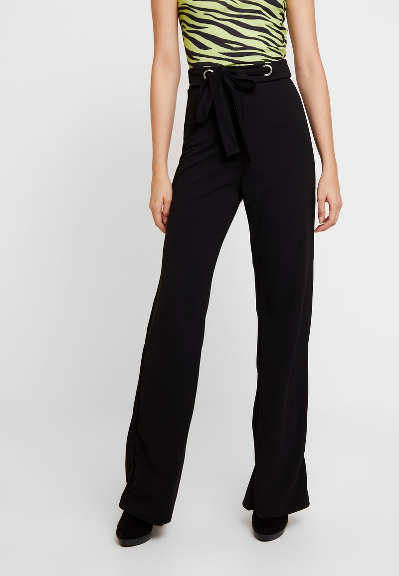 Missguided - STRETCH EYELET WIDE LEG TROUSER - Trousers - black