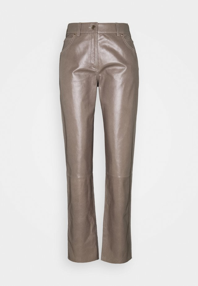LEATHER TROUERS - Pantalon en cuir - dove