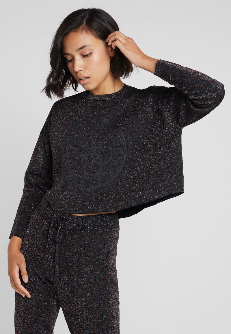 Guess - SHINY ROUNDNECK - Long sleeved top - black/multi