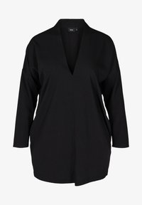 Zizzi - LONG-SLEEVED WITH A V-NECK - Tunic - black - 0